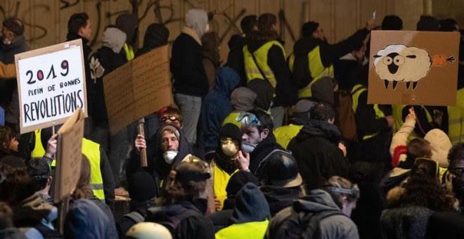 12/01/2019.- Protestas de los chalecos amarillos este sábado en Burdeos, Francia. EFE/Caroline Blumberg