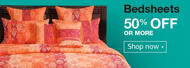 50% off or more on Bedsheets