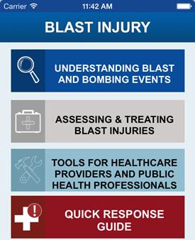 Screenshot of the CDC Blast Injury App