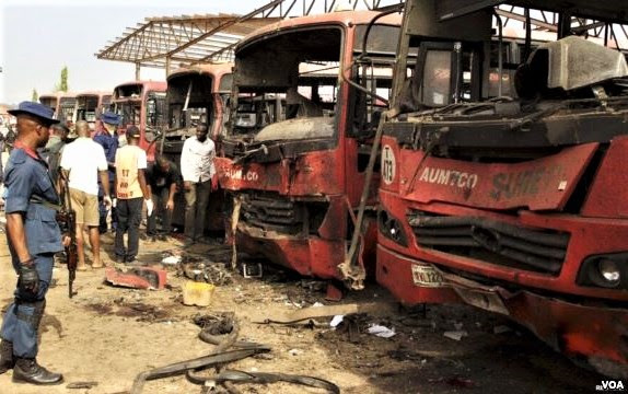 Bomb attack by Boko Haram in Abuja on April 14, 2014. (Wikipedia, VOA)