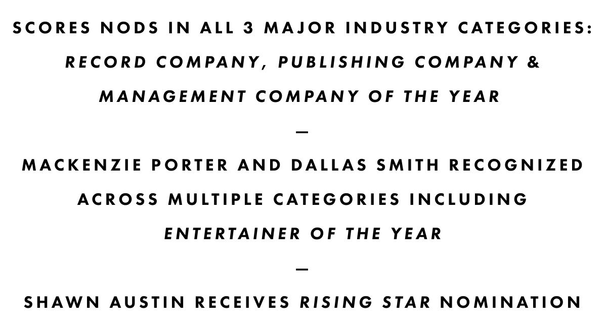 SCORES NODS IN ALL 3 MAJOR INDUSTRY CATEGORIES: RECORD COMPANY, PUBLISHING COMPANY & MANAGEMENT COMPANY OF THE YEAR—MACKENZIE PORTER AND DALLAS SMITH RECOGNIZED ACROSS MULTIPLE CATEGORIES INCLUDING ENTERTAINER OF THE YEAR—SHAWN AUSTIN RECEIVES RISING STAR NOMINATION