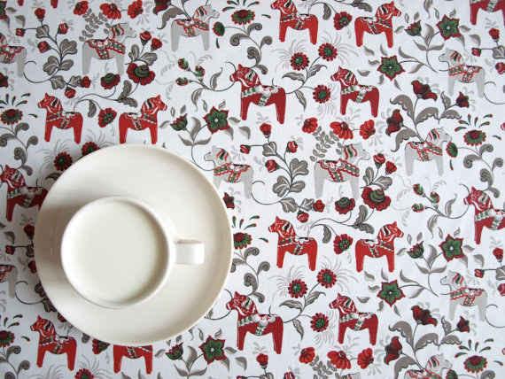 This Swedish dala horse tablecloth.