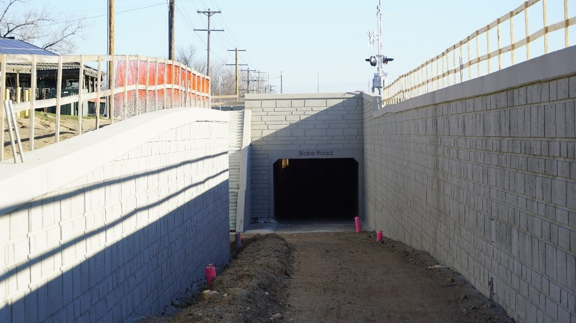 Blake Road regional trail underpass: the western half of the tunnel is complete, with work on the eastern half in the spring.