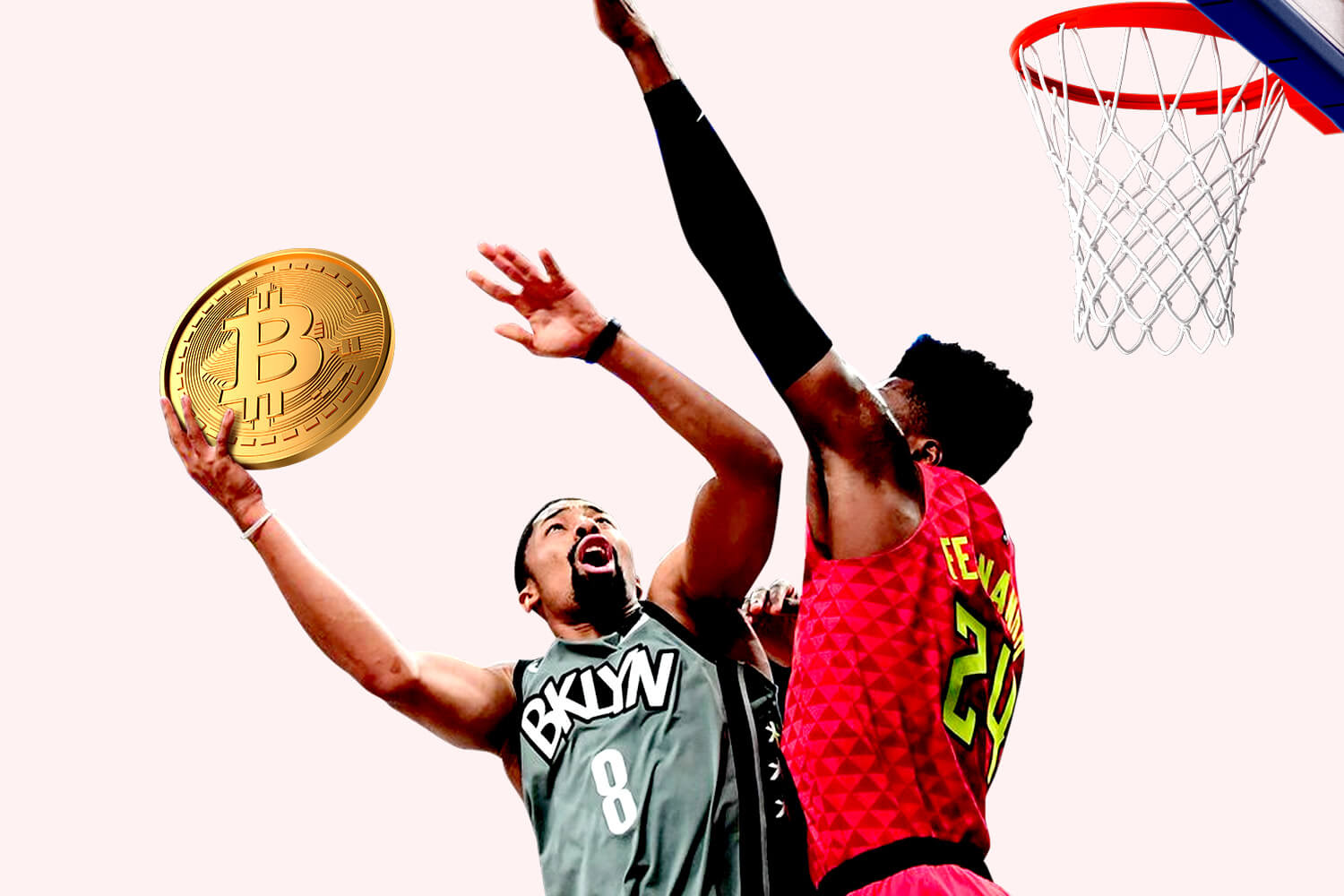 An illustration of Spencer Dinwiddie playing basketball with a bitcoin ball