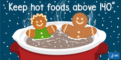Graphic for Twitter chat: Keep hot foods above 140 degrees