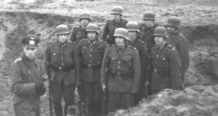 German helmets of the Wehrmacht with the                         protection of ears and neck, example of a hand                         grenade course
