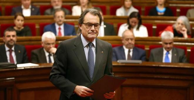 El presidente de la Generalitat en funciones, Artur Mas, al comienzo del debate de investidura. - EFE