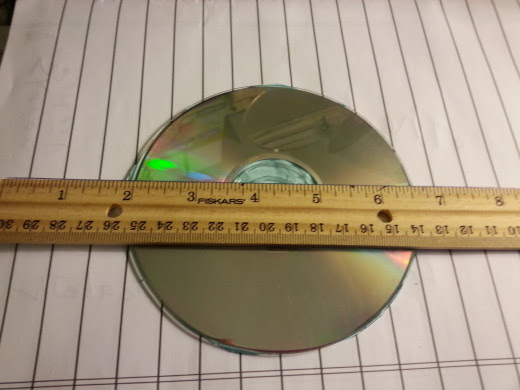 CD exactly over the top of my pattern piece - 4 and 1/2 inches wide.
