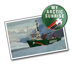 My Arctic Sunrise badge and print