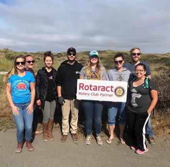 Lost Coast Rotaractors clean up trash on Samoa Beach in Eureka
