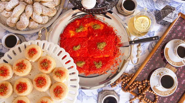 A mix of traditional and nontraditional Arabic desserts served with Turkish coffee.
