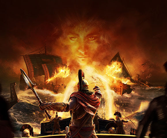 A glowing face shows through a fire-filled scene.
