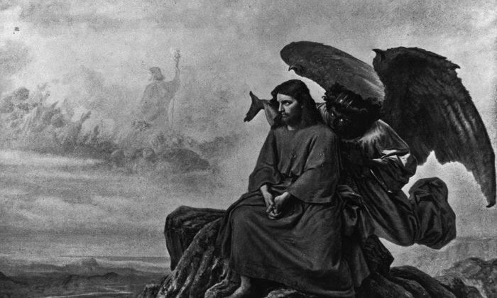 Tranh minh họa cảnh ác quỷ dụ dỗ Chúa Jesus khi người đang ở một mình trong sa mạc. (Ảnh: Hulton Archive/Getty Images)