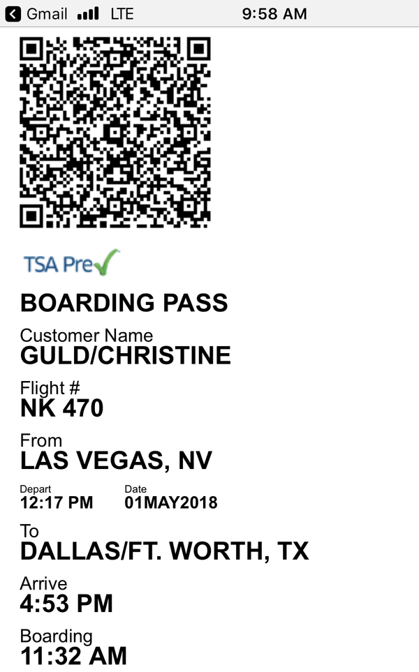 Boarding Pass Screenshot