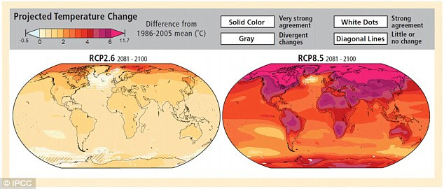 The study compared its results to the most severe emissions scenarios outlined by the Intergovernmental Panel on Climate Change (IPCC). Projected temperature change from 2081-2100 by the IPCC are pictured here. The latest study, however, says this climate model may be wrong
