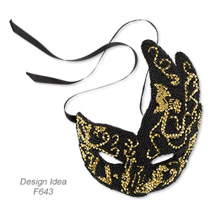 Mask with Seed Beads and Swarovski Crystals (Design Idea F643)