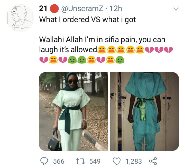 """What I ordered vs what I got: woman in """"sifia pain"""" because of what her tailor made for her"""