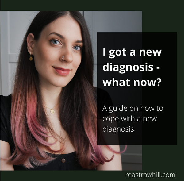 A photo of a woman with long black hair and red tips. Text: I got a new diagnosis. What now?