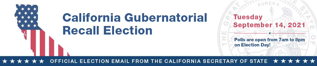 2021 California Gubernatorial Recall Election Banner