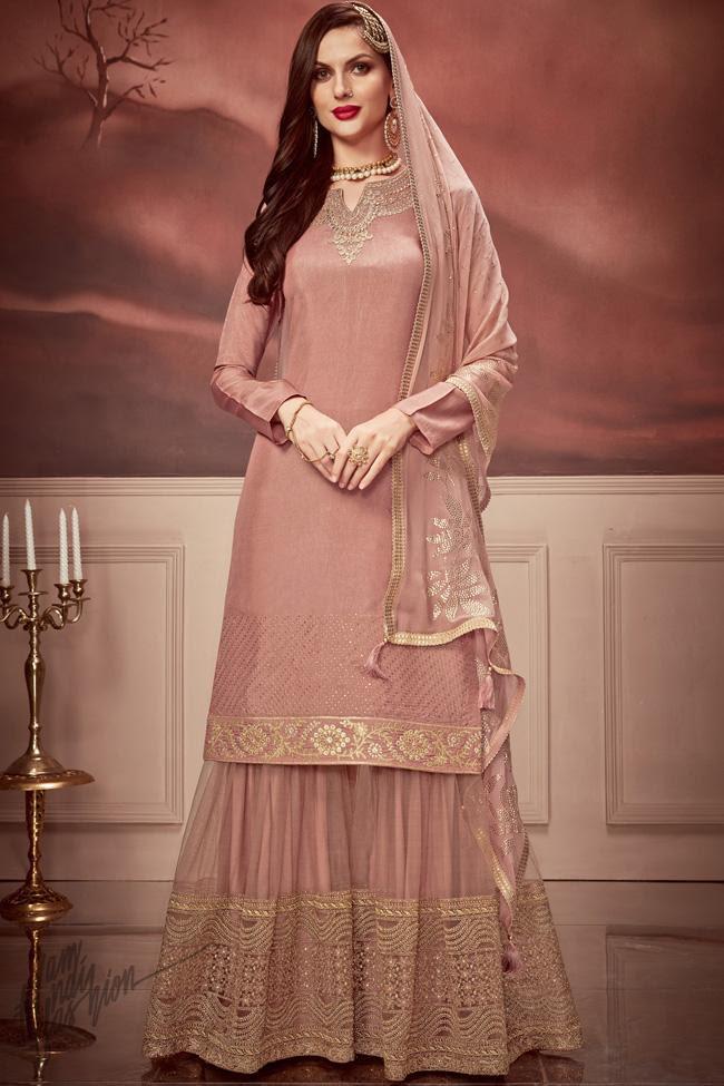Old Rose Pink Russian Silk Sharara Suit