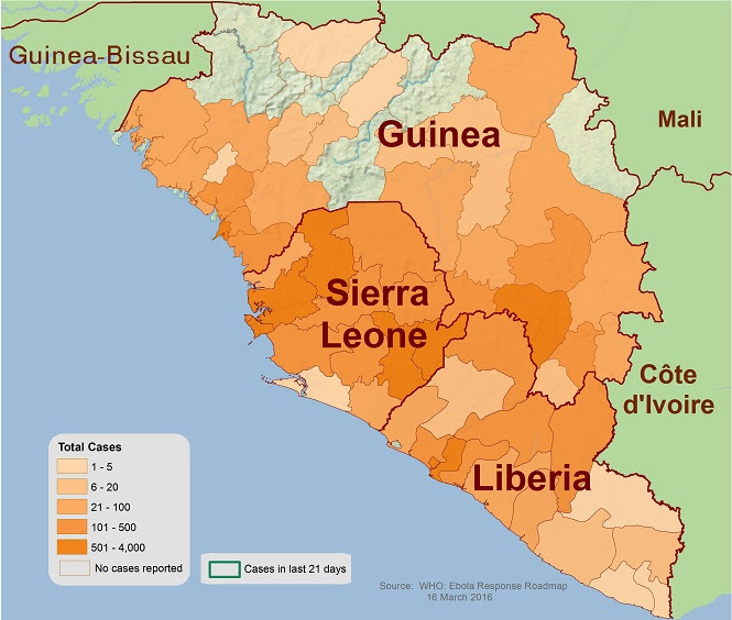 Distribution map showing districts and cities reporting suspect cases of Ebola
