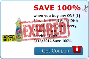 Save 100% when you buy any ONE (1) 14oz. bottle of Ajax® Dish Liquid. Check back every Friday for a new Freebie!.Expires 5/18/2014.Save 100%.