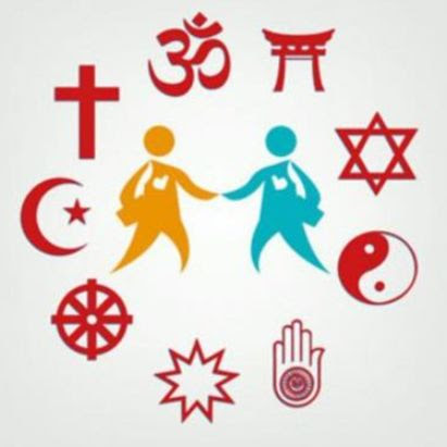 Symbols of different religions around two people holding hands