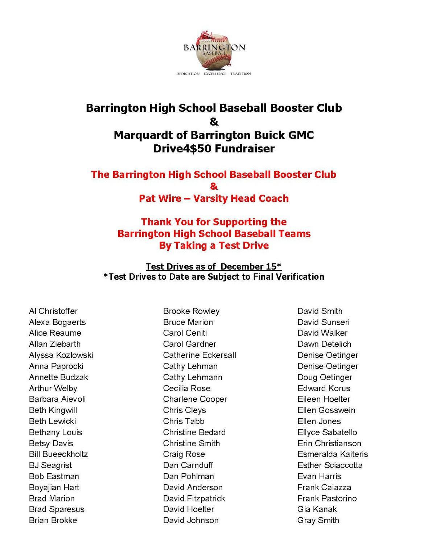 Barrington High School Baseball Booster Club Drive4 50 Drivers Update 121516 Page 1