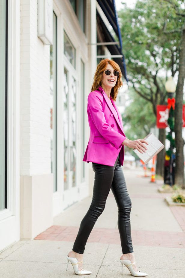 Pink Veronica Beard Blazer paired with black leather pants