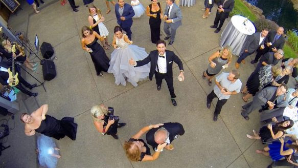 A wedding photo taken by a drone flying above a reception near Portland, Ore., last August.