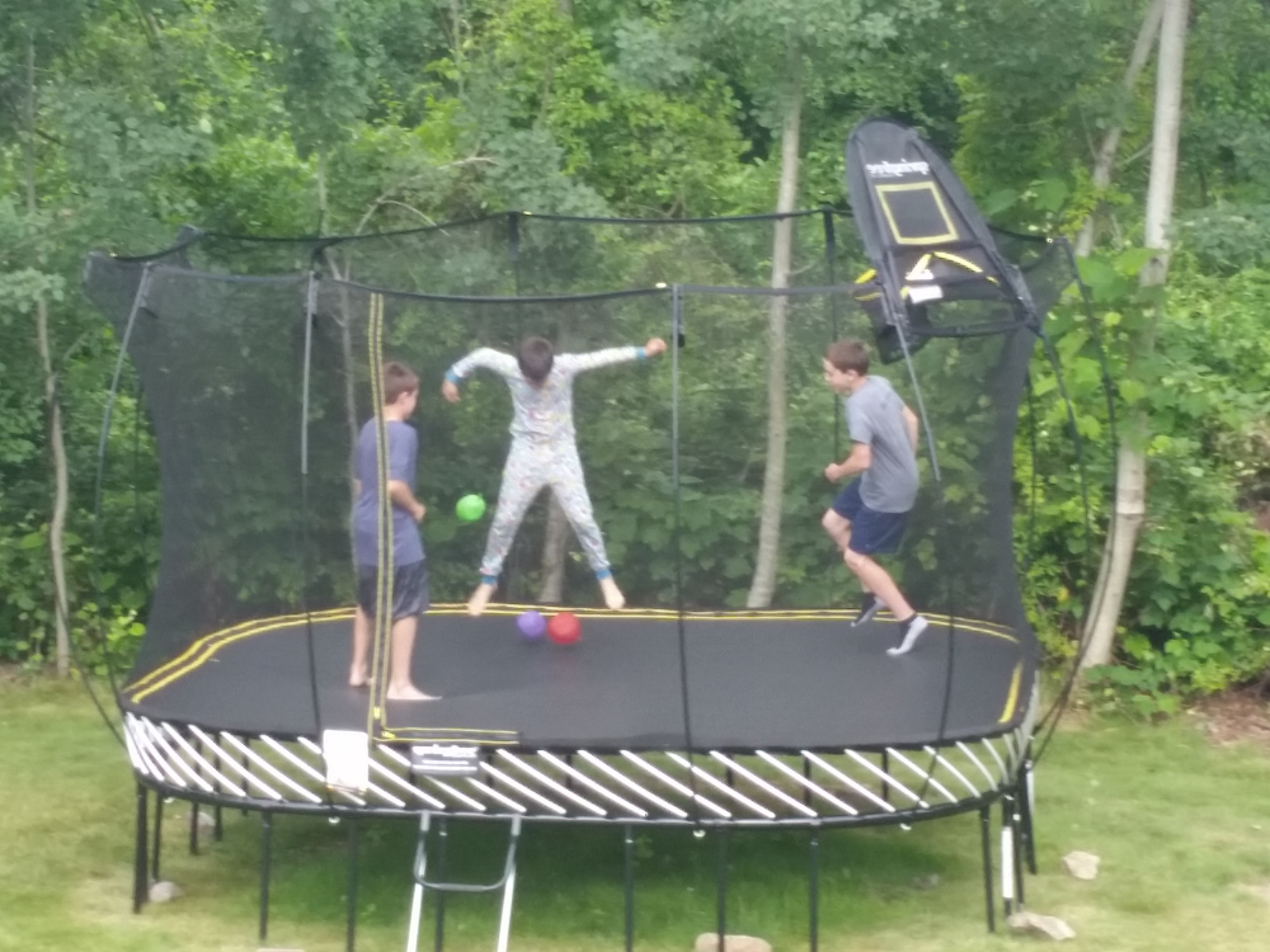 Boys on trampoline
