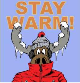 clipart of a moose wearing a red coat and gray stocking cap with ice and snow on it's antlers
