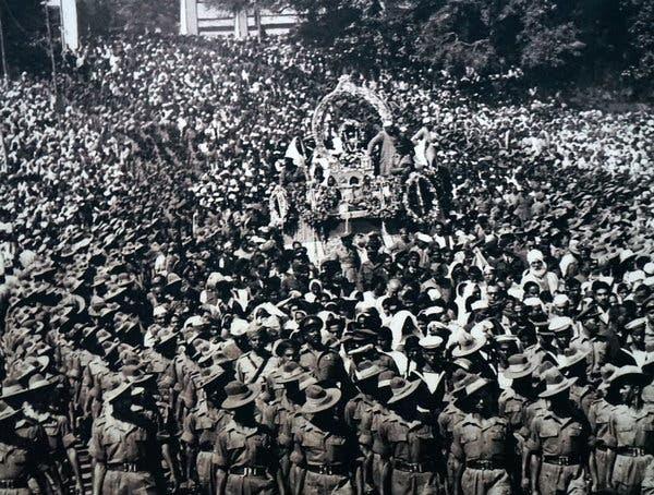 Mohandas K. Gandhi's funeral procession in 1948.