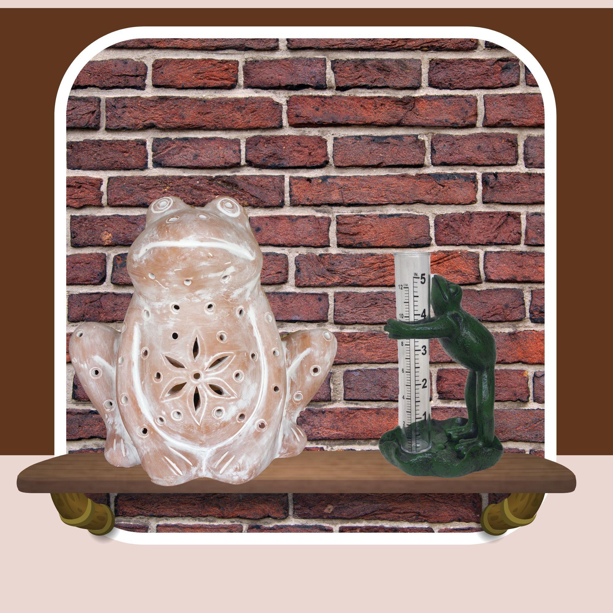 frog rain gauge with frog cast iron bird feeder