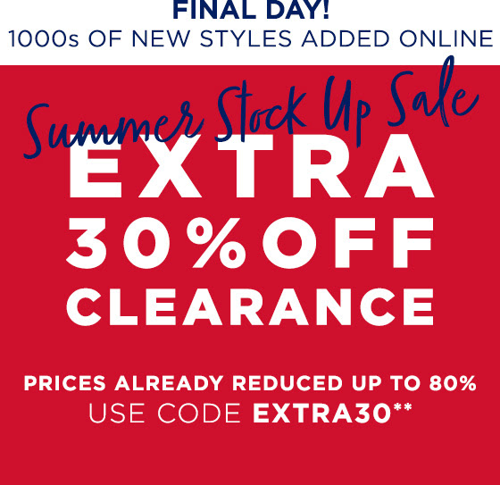 Extra 30% Off Clearance Shop Now