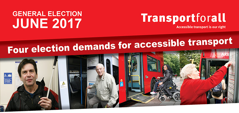 "Banner ""Four election demands for accessible transport"
