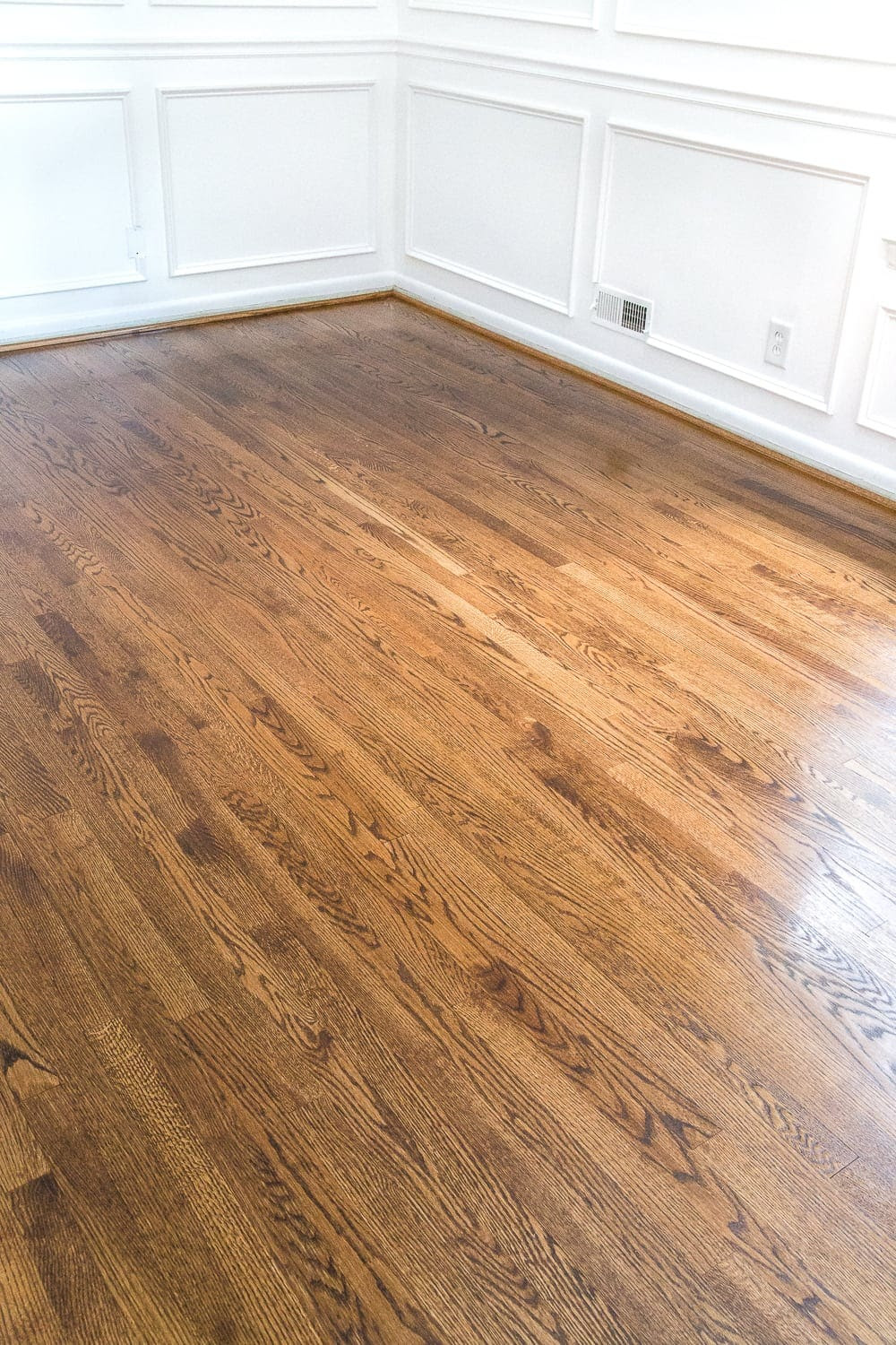 Minwax Provincial Stain hardwood floors sealed with satin polyurethane