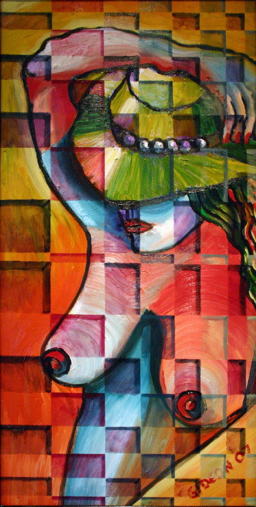 Woman with Hat  Oil on Canvas  30X15   1 200