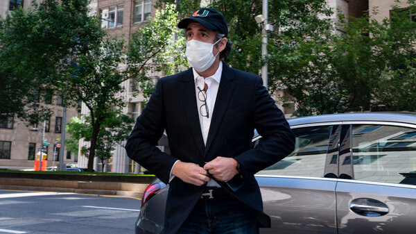 Michael Cohen arrives at his Manhattan apartment in May after being released from federal prison to home confinement due to medical concerns related to the coronavirus.