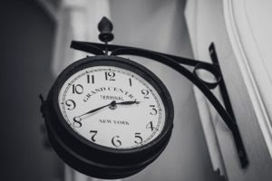 clock wall time black and white