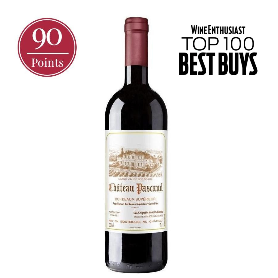 """Bottle of Bordeaux Supérieur by Château Pascaud 2018 with """"90 Points"""" seal and """"WineEnthusiast TOP 100 BEST BUYS"""""""