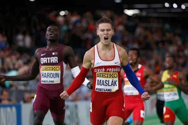 Pavel Maslak wins the 400m at the IAAF World Indoor Championships Portland 2016 (Getty Images)