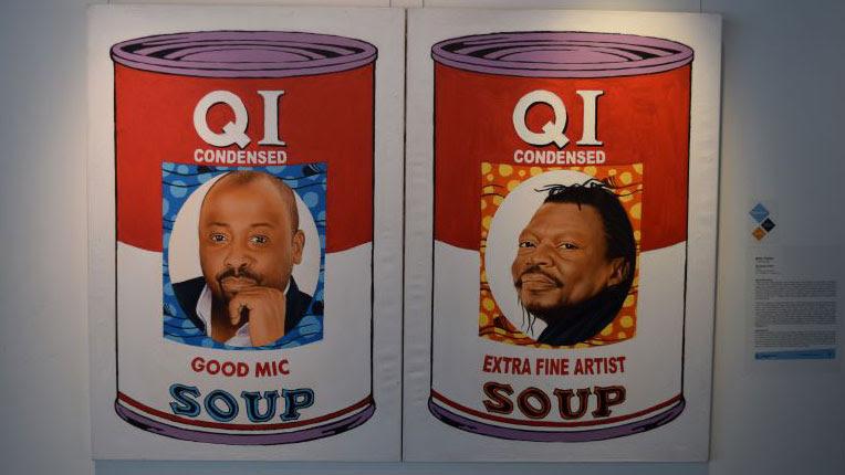 Marc Padue, «QI Soup Cans», 2016 (acrílico sobre tela). Imagen cortesía del Programa de Arte del Grupo Banco Mundial. Foto: © Bassam Sebti/Banco Mundial