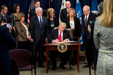 At the Department of Homeland Security on Wednesday, President Trump signed documents to order the construction of a Mexican border wall.