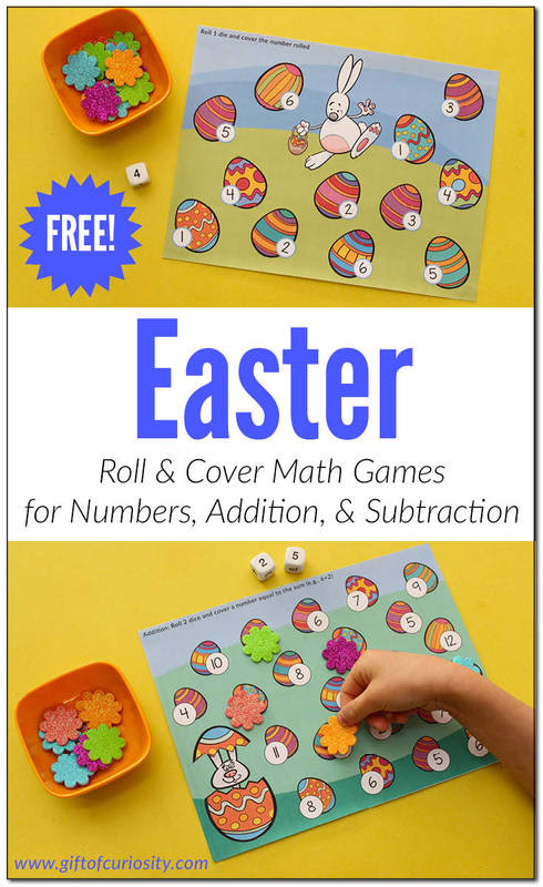 Easter Roll & Cover Math Games printable