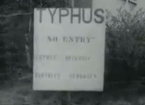 "Faked board in English with the claim                             ""Typhus"" at the concentration camp                             of Bergen-Belsen AFTER the liberation                             (18min. 4sec.)"