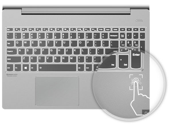 Lenovo IdeaPad S540 (15) keyboard with fingerprint reader highlighted
