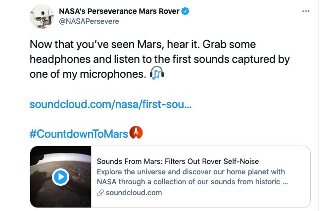 Screen shot from a Tweet by NASA