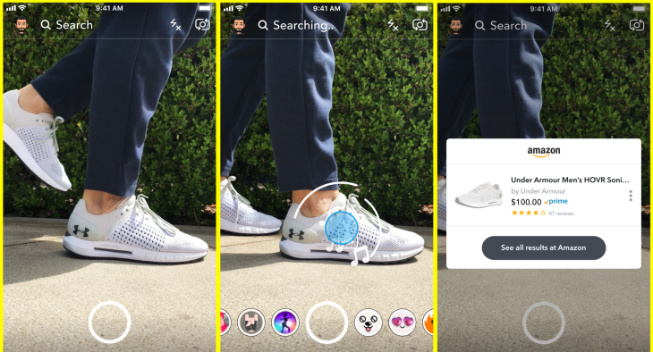 Snapchat Visual Search Amazon Product