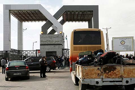 The Rafah border crossing between Egypt and southern Gaza.